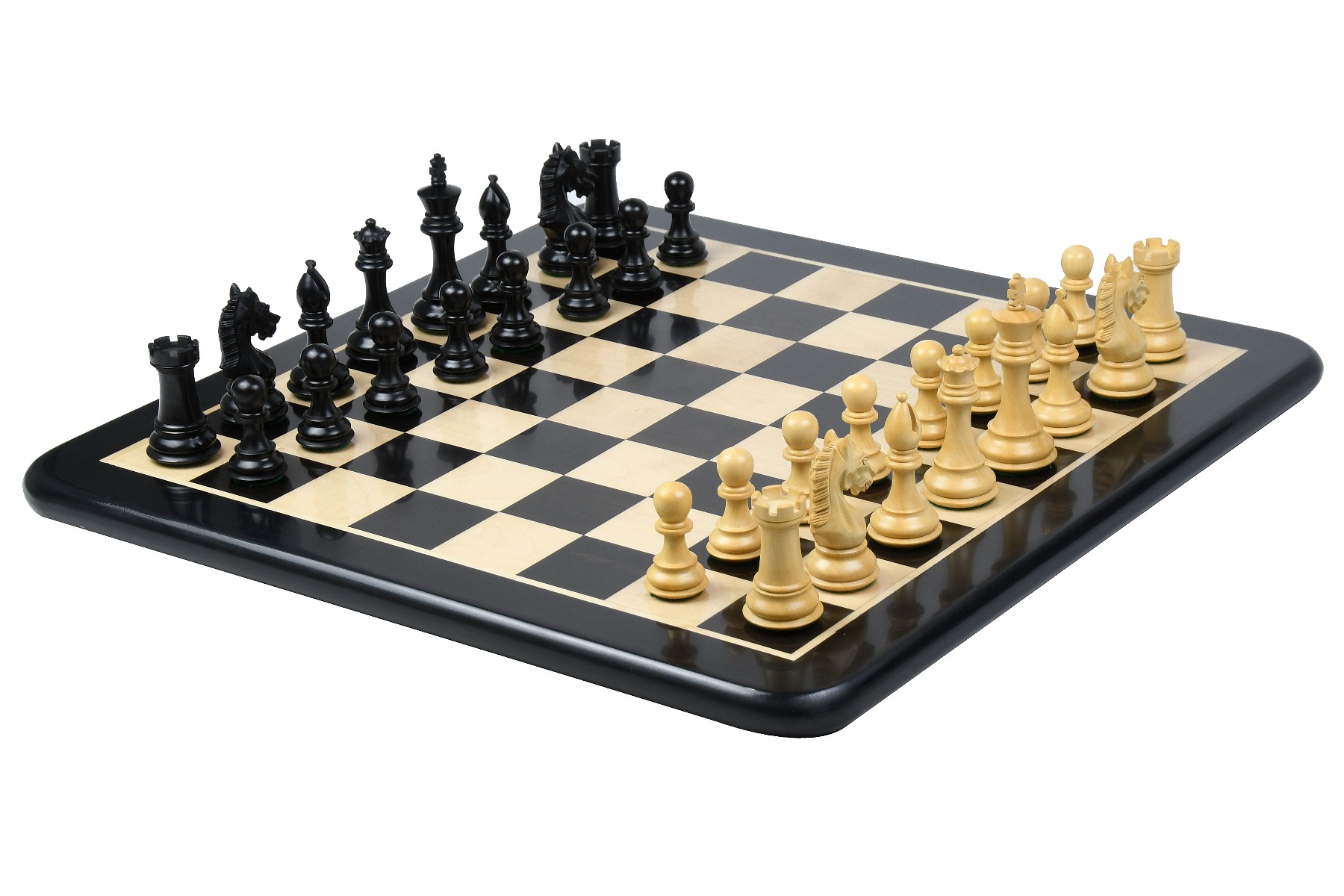 """Combo of CB The Derby Knight Staunton Pattern Weighted Chessmen in Ebonized Boxwood - 4.1"""" King with Wooden Chess Board"""