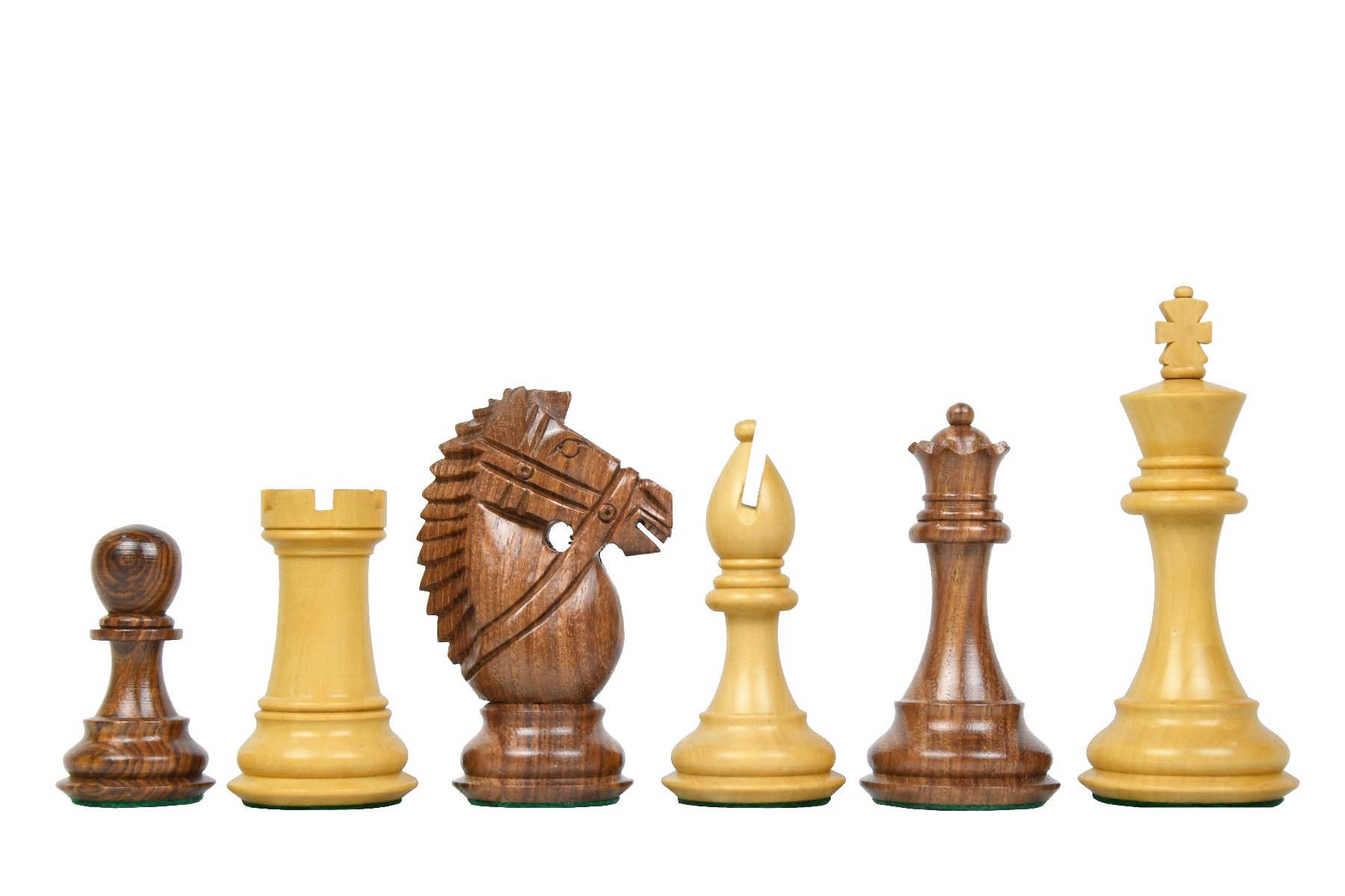 """Combo of The Bridle Knight Series Wooden Chess Pieces in Sheesham & Box Wood - 4.0"""" King with Wooden Chess Board"""