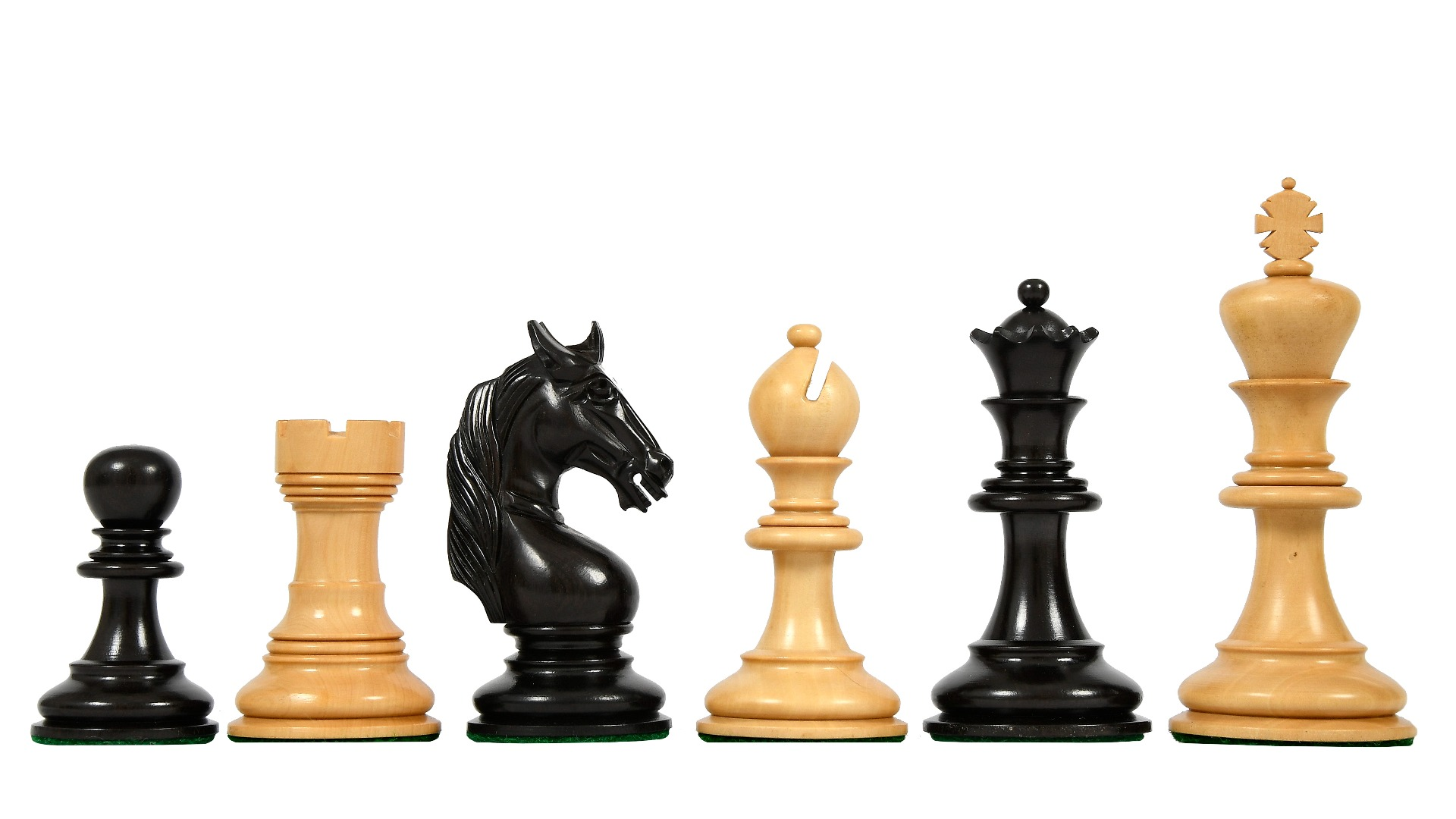 """Clearance - CB Staunton Pattern Triple Weighted Chessmen in Ebony Wood & Boxwood - 4.3"""" King"""