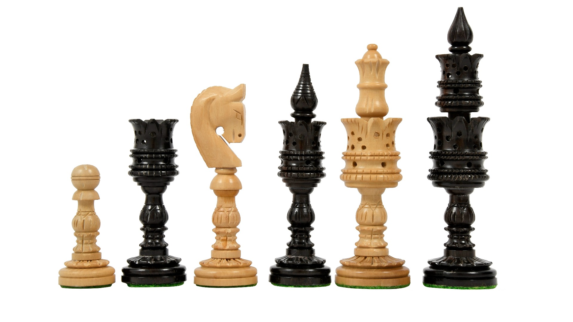"""The Lotus Series Wooden Pipe Shaped in Ebony & Box Wood Chess Pieces - 4.7"""" King"""