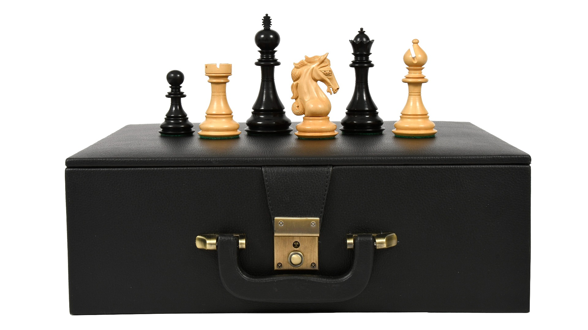 """The Shera Series Staunton Triple Weighted Chess Pieces V2.0 in Ebony / Box Wood - 4.4"""" King with Storage box"""