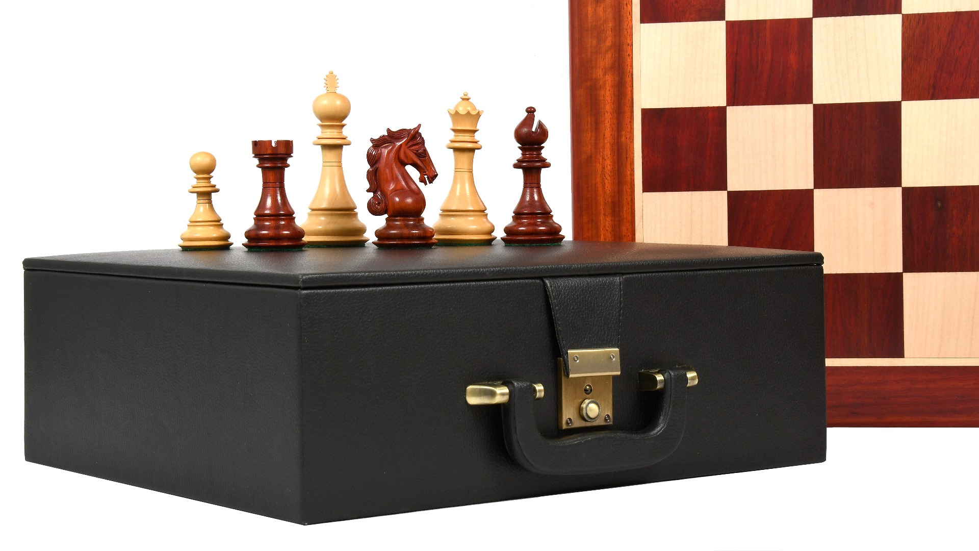 """Combo of The Shera Series Staunton Triple Weighted Chess Pieces V2.0 in Bud Rose / Box Wood - 4.4"""" King with Wooden Chess Board & Storage box"""