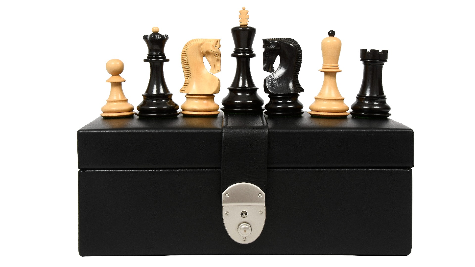 """Combo of Exclusive Russian Zagreb Tournament Chess Pieces in Ebonized Boxwood & Natural Boxwood - 3.9"""" King with Storage Box"""