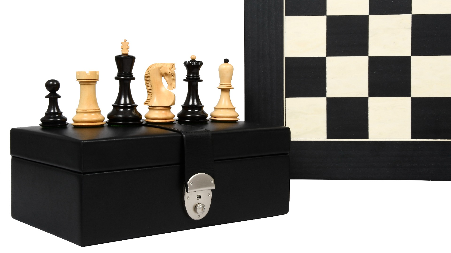 """Exclusive Russian Zagreb Tournament Weighted Chess Pieces in Ebonized Boxwood & Natural Boxwood - 3.9"""" King with Wooden Chessboard & Storage Box"""