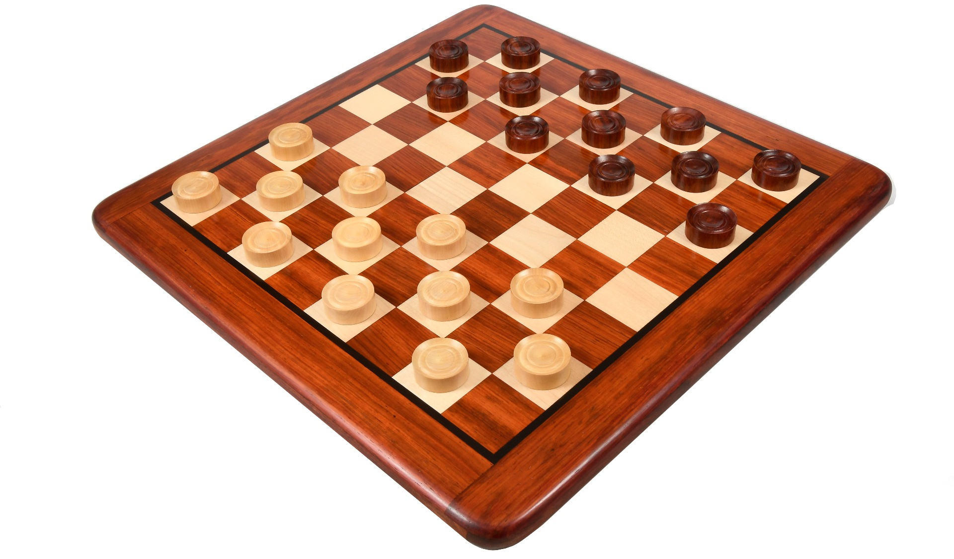 Wooden Checkers / Draught Set in Bud Rose Wood & Box wood - 35mm
