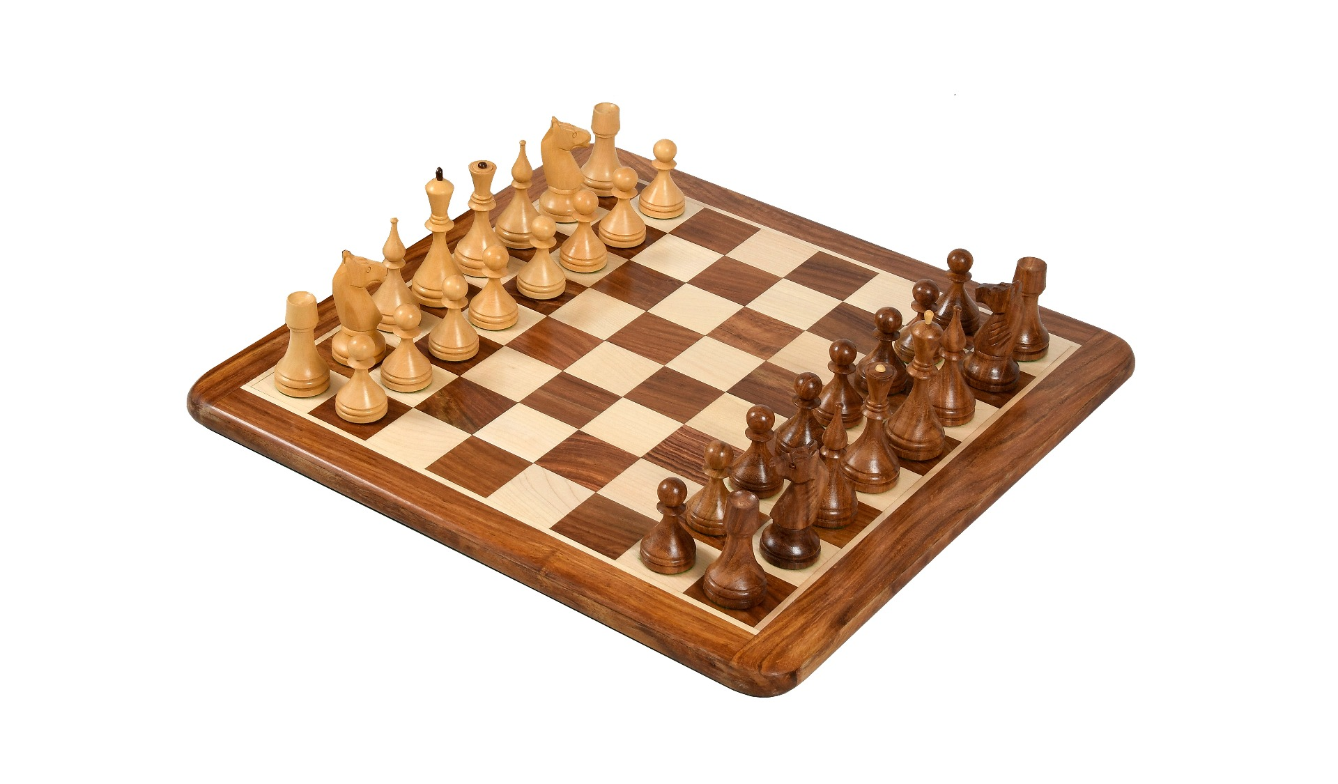"""Combo of Reproduced 1961 Soviet Championship Baku Chess Pieces & Wooden Chess Board in Sheesham / Box wood - 4"""" King"""