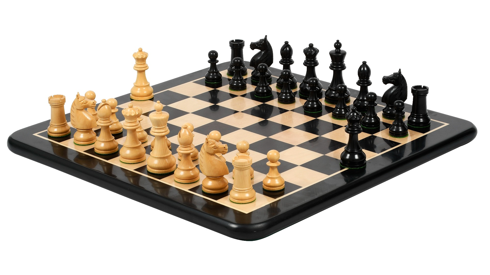 """Combo of Reproduced 1930s-70s Hastings Chess Congress Set Version 2.0 in Ebony & Boxwood - 4"""" King with Wooden Chess Board"""