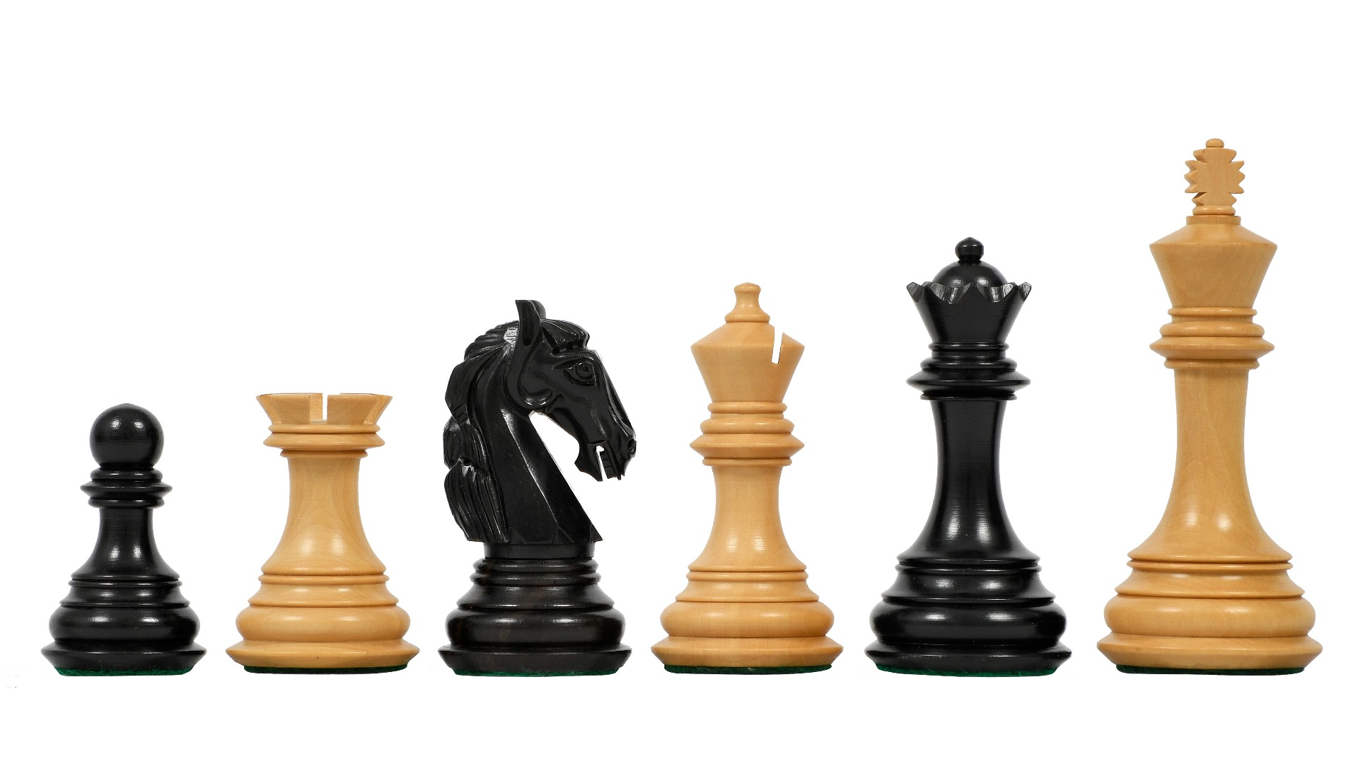"""The New Columbian Staunton Series Chess Pieces in Ebony Wood & Box wood - 3.8"""" King"""