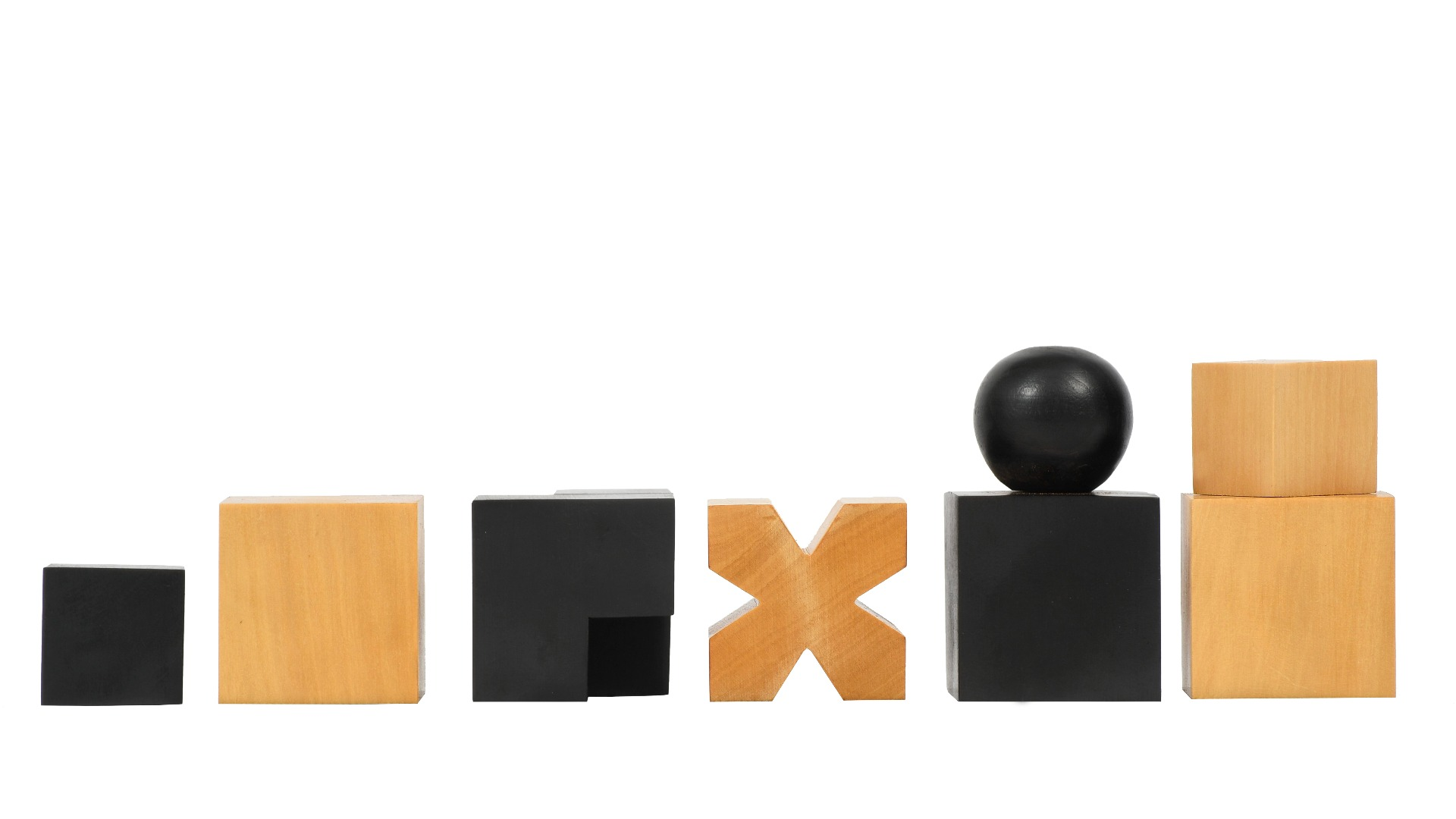 """Reproduced 1924 Bauhaus Geometrical Abstract Chessmen in Ebonized Boxwood - 1.9"""" King"""