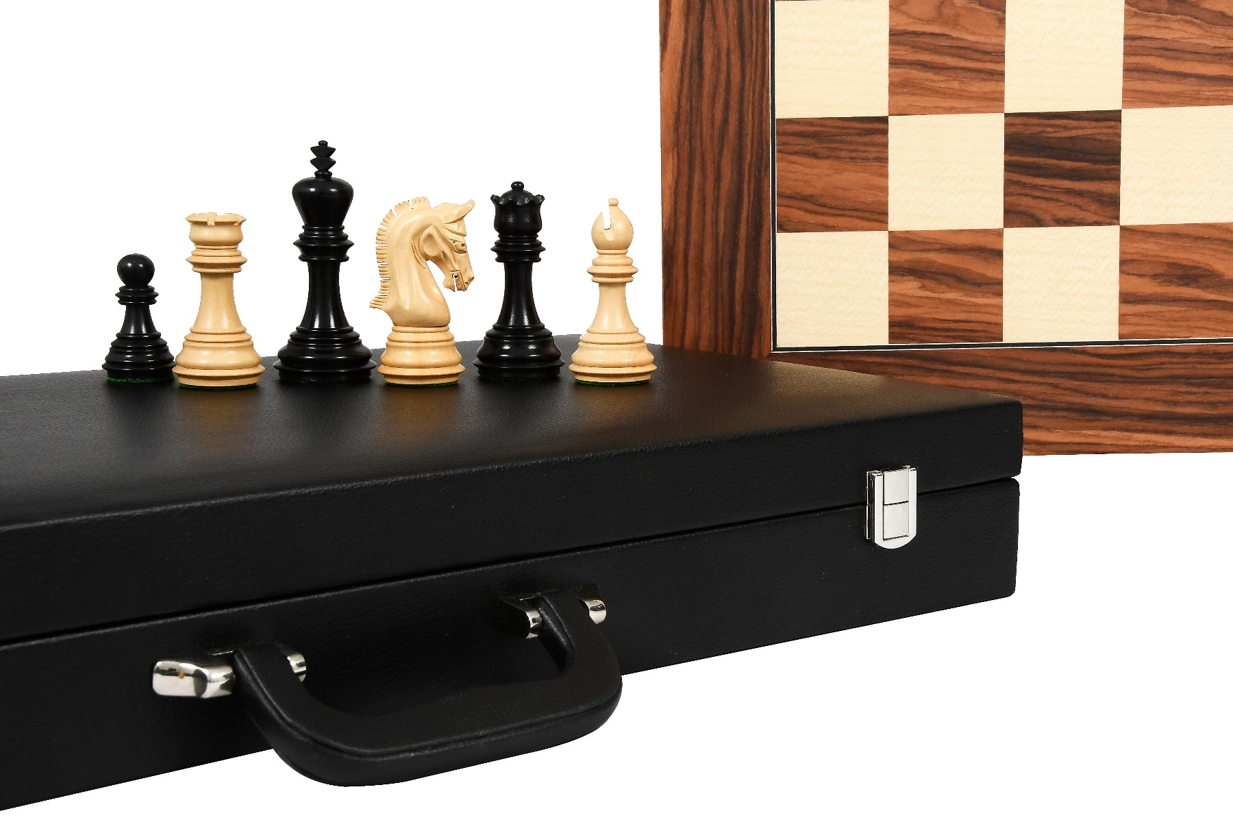 """Combo of The New Imperial Weighted Chess Pieces in Genuine Ebony and Boxwood - 3.8"""" King with Wooden Chess Board and Storage Box"""