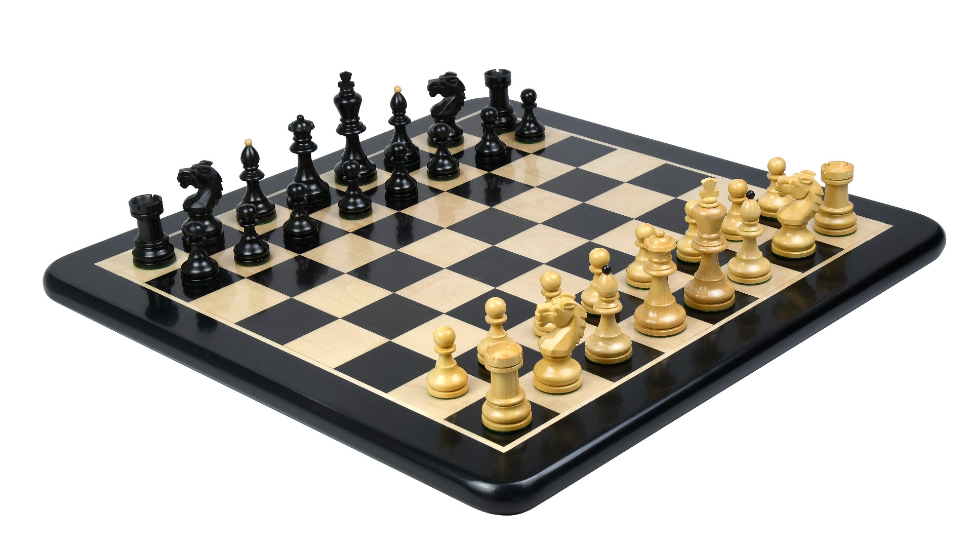 """Combo of Reproduced Vintage 1950's Circa Bohemia Staunton Series German Chess Pieces in Ebonized Boxwood & Natural Boxwood - 3.89"""" King with Wooden Chess Board"""