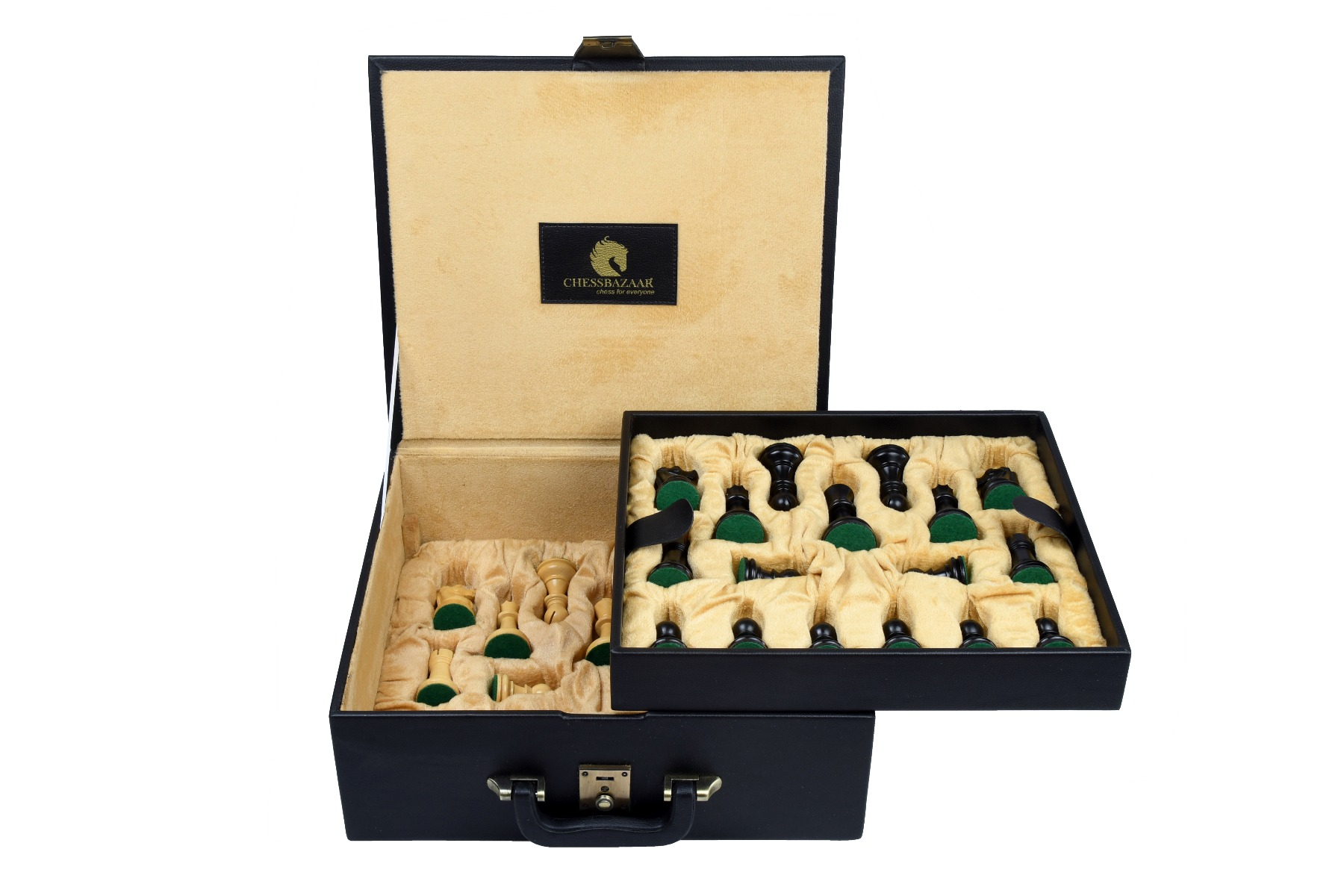 """Leatherette Chess Set Storage Box Coffer with Double Tray Fixed Slots for 4.2"""" - 4.8"""" Pieces"""