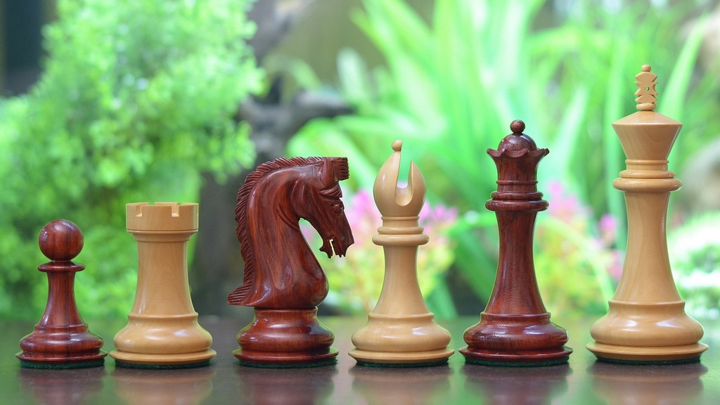 """Slightly Imperfect Caballus Series Handcarved Triple Weighted Chess Pieces in Bud Rose & Box Wood - 4.5"""" King"""