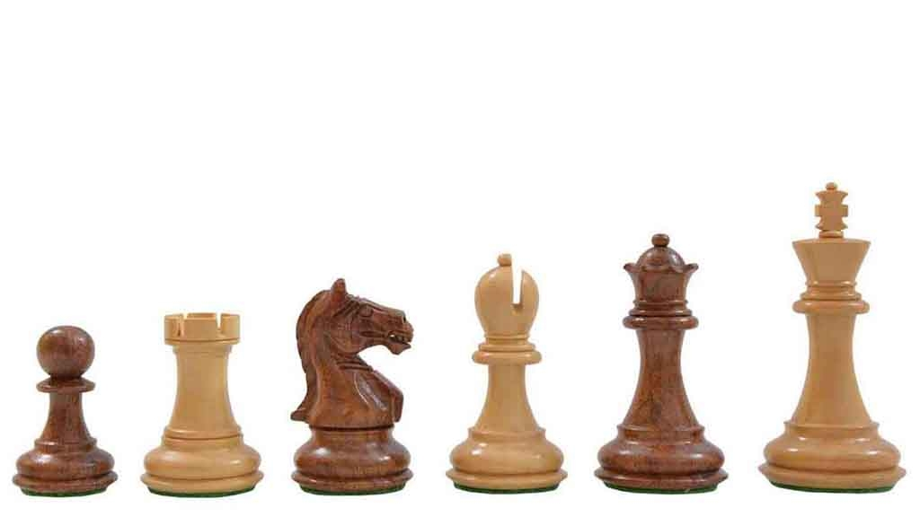 """Slightly Imperfect Fierce Knight Staunton Wooden Chess Pieces in Sheesham & Box Wood - 3.4"""" King"""