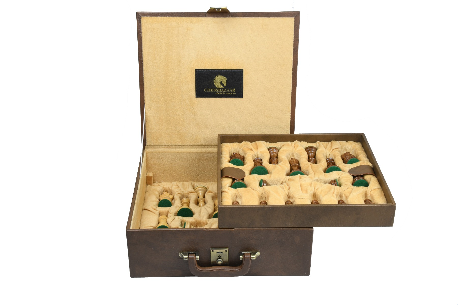 """Brown Leatherette Chess Set Storage Box Coffer with Double Tray Fixed Slots for 4.2"""" - 4.8"""" Pieces"""