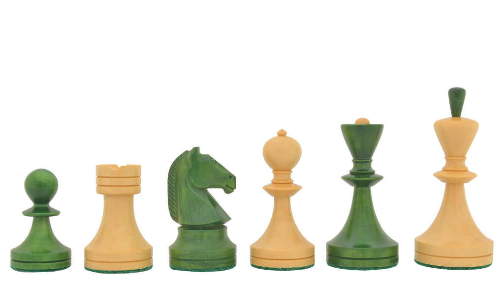 """Reproduced Russian (Soviet Era) Series Chess Pieces in Stained Green Ash Burl / Box Wood - 3.7"""" King"""