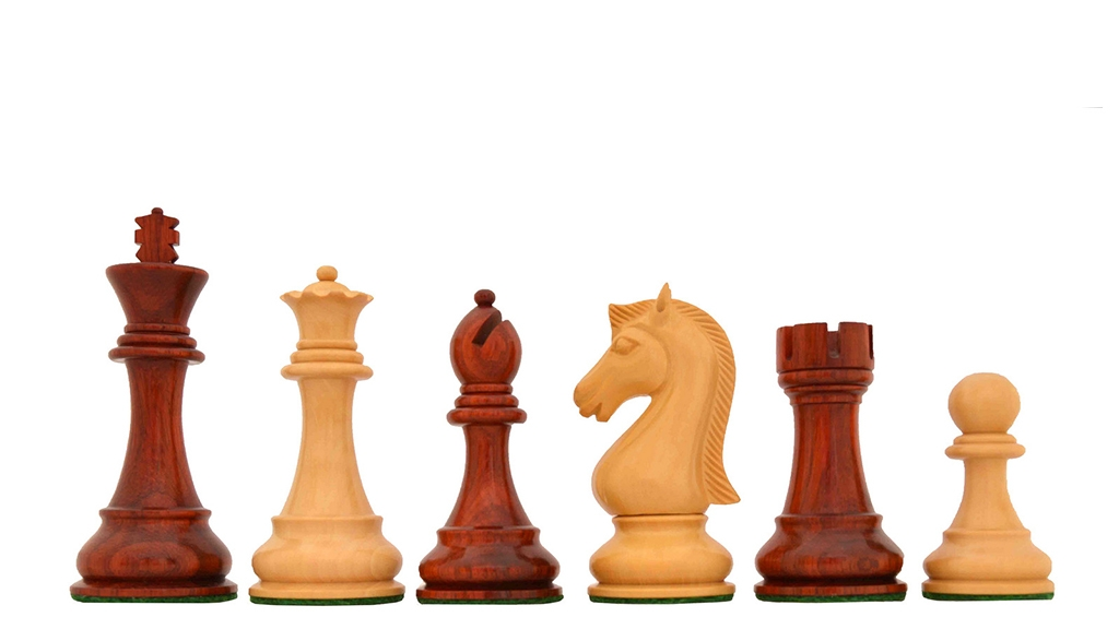 "The Candidates Series Staunton Chess Pieces in Bud Rose / Box Wood - 3.75"" King"