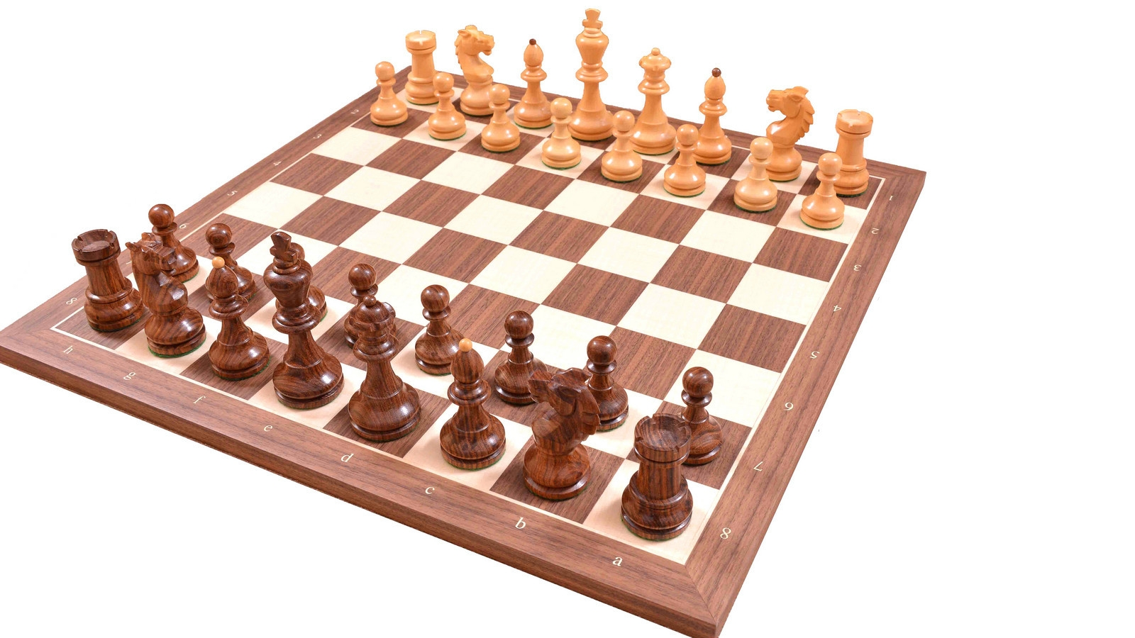 """Combo of Vintage 1950's Circa Bohemia Chess Set in Sheesham & Box Wood & Walnut Maple Wooden Chess Board with Notation - 3.89"""" King"""