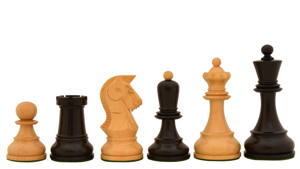 """The Reproduction 1950 Dubrovnik Bobby Fischer Chess Pieces Version 2.0 in Ebony / Box Wood - 3.6"""" King"""