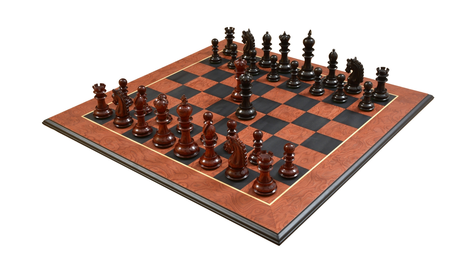"""Combo of The Hurricane Series Chess Pieces in Ebony / Bud Rose Wood & Black Anigre Red Ash Burl with Moulded edges Chess Board - 4.7"""" King"""