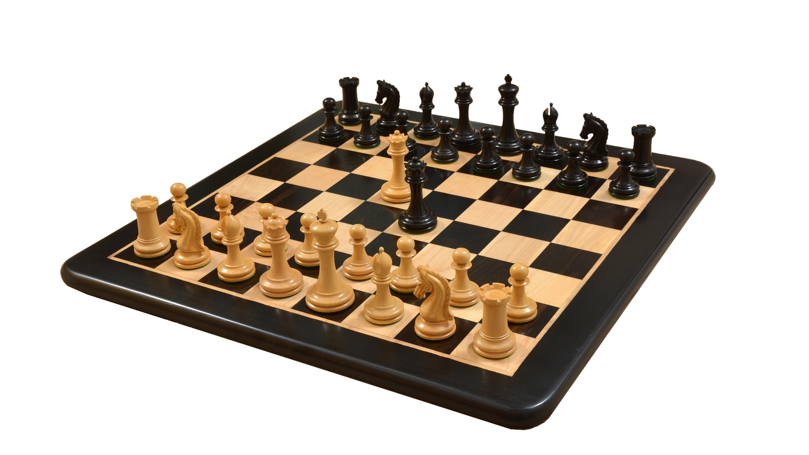 """Combo of Imperial Collector Series Chess Set V2.0 in Ebony Wood & Box Wood with Ebony Wooden Board - 3.75"""" King"""