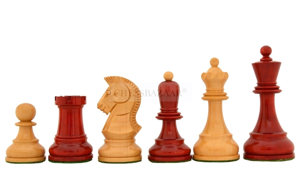 """New 1950 Dubrovnik Bobby Fischer Reproduced Chess Pieces Version 2.0 in Lacquer Finished Stained Crimson / Box Wood - 4"""" King"""