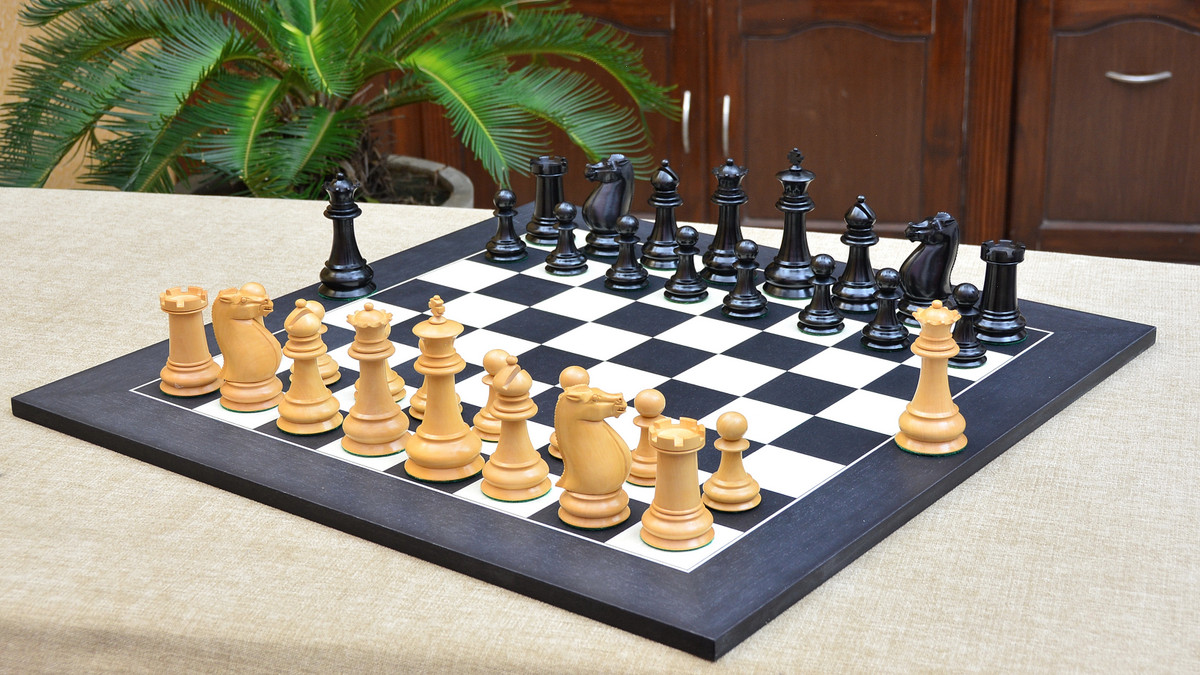 "Combo of Antique Circa 1880 Staunton Series Chess Pieces in Ebony & Box Wood & Black Anigre Maple Wooden Chess Board - 4.6"" King"