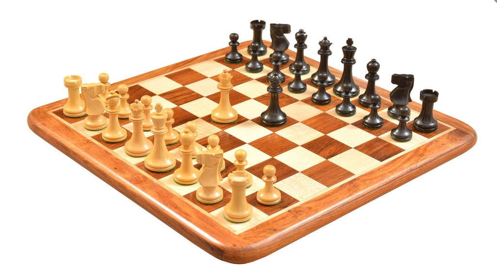 """Combo of Old Vintage English Staunton Series Chess Pieces in Dyed wood & Box Wood with Wooden Board & Storage Box - 3"""" King"""