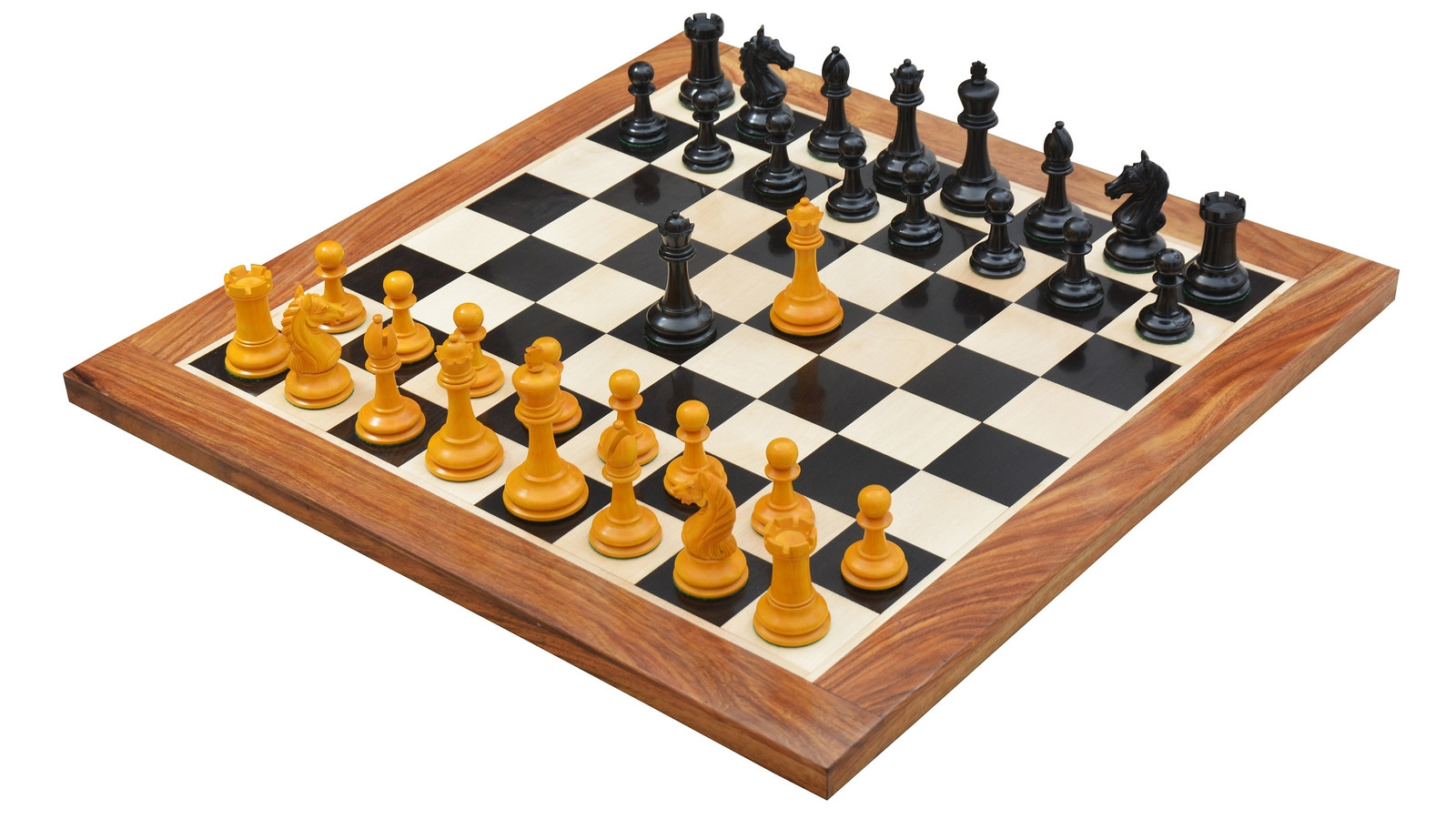 """Combo of Ancient Indian Warrior Staunton Luxury Series Chess Pieces in Ebony / Antiqued Box Wood - 4"""" King / Wooden Chess Board Ebony Sheesham Wood 23"""" - 60 mm"""