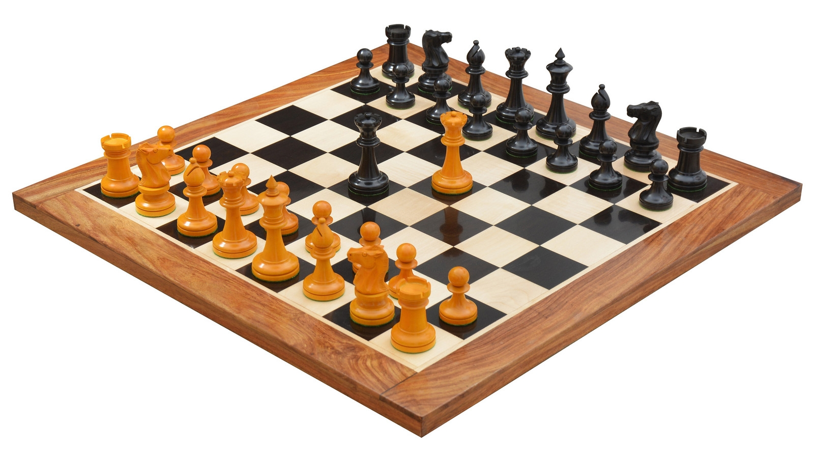 """Combo of Reproduced 1904 Cambridge Springs International Congress Tournament Chess Pieces  in Ebonized & Antiqued Boxwood - 4"""" King / Wooden Chess Board Ebony Sheesham Wood 23"""" - 60 mm"""