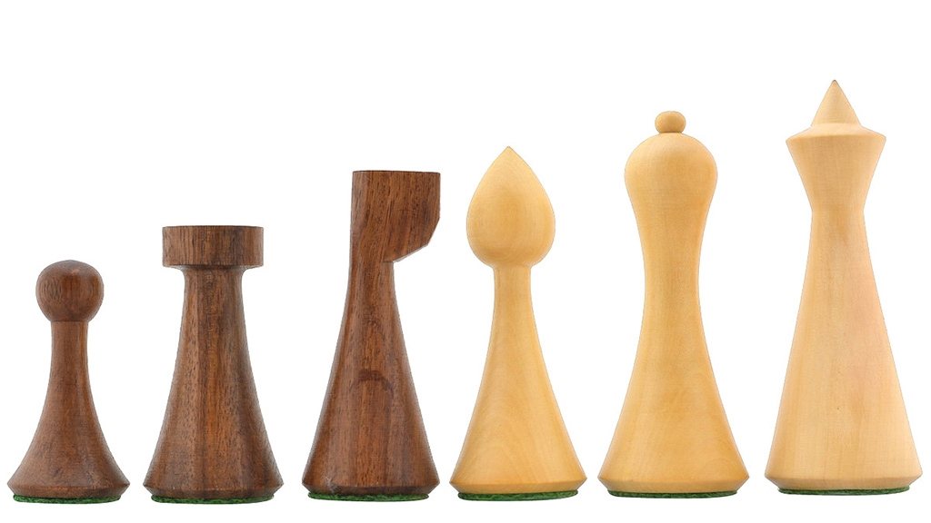 """Slightly Imperfect Minimalist Hermann Ohme Chess Pieces in Sheesham & Box Wood - 3.75"""" King"""
