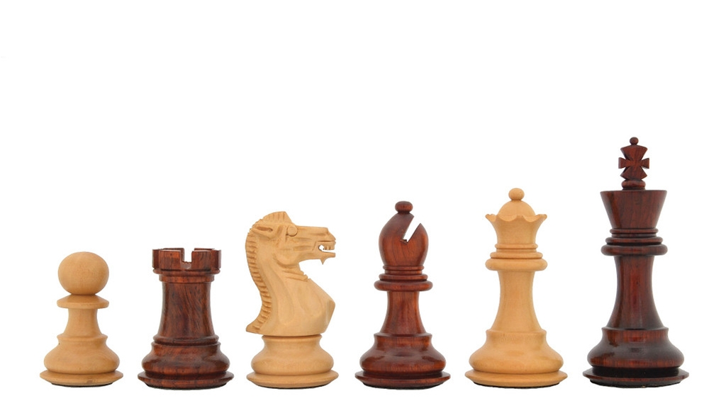 """The Classic 101 Staunton Series Club Size Weighted Chess Pieces in Bud Rose & Box Wood - 2.9"""" King"""