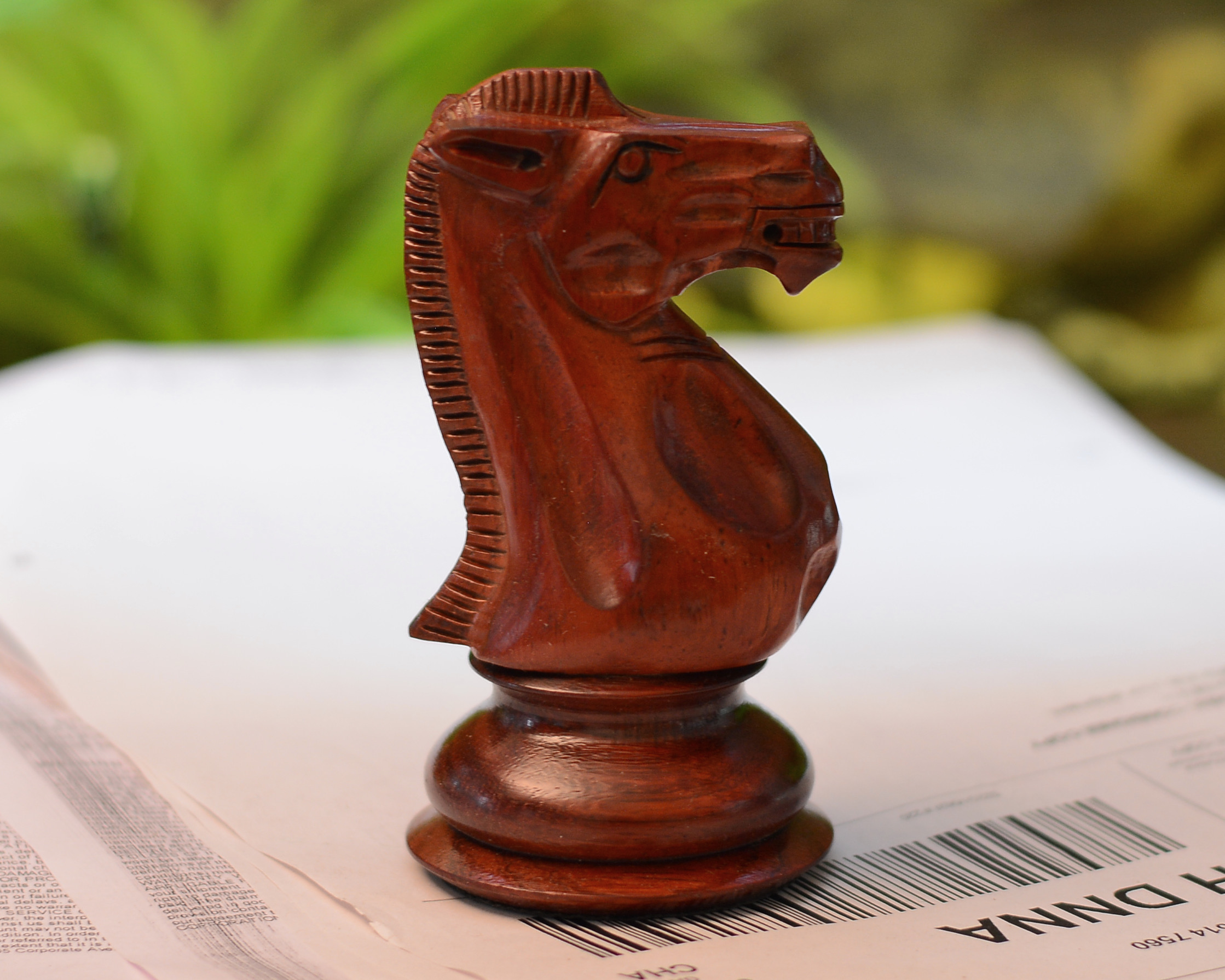 """The Giant Monstrous Series Knight Chess Piece in Bud Rose Wood Paper Weight -4.3"""" Height."""