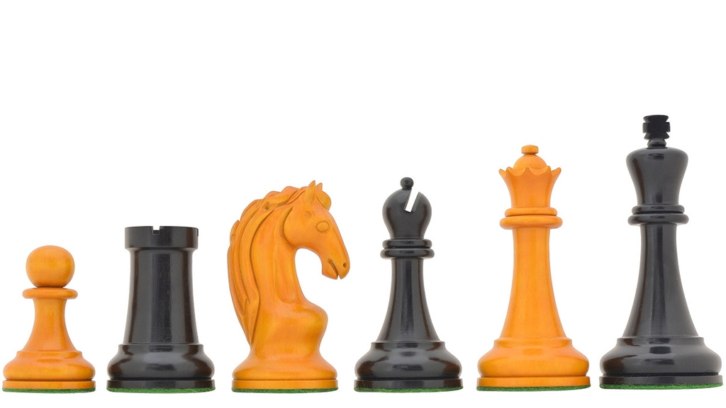 """Reproduced 1963-1966 Piatigorsky Cup Chess Pieces in Ebony & Antiqued Boxwood - 4.2"""" King"""