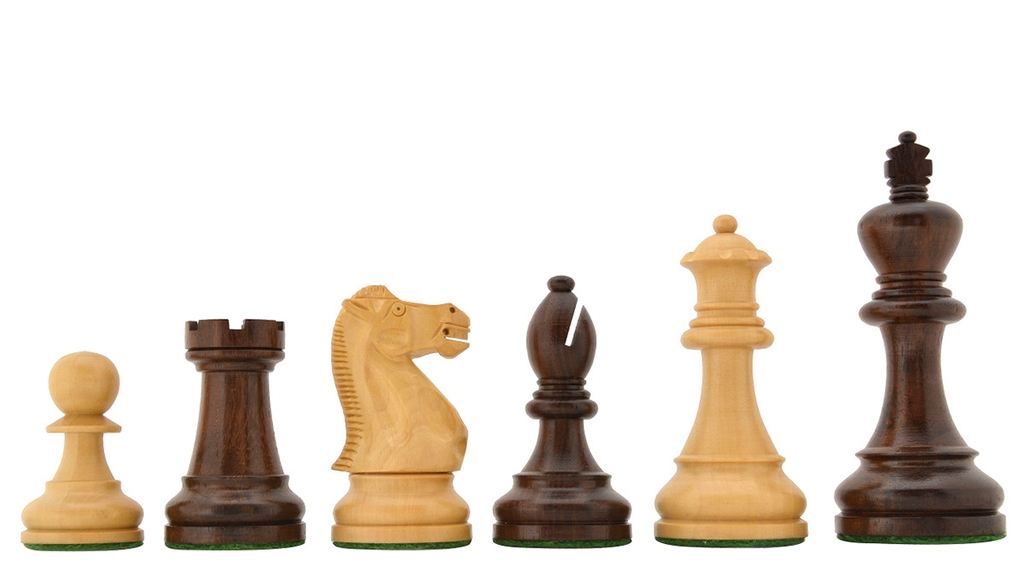 """The American Staunton Series Weighted Tournament Chess Pieces in Sheesham & Box Wood - 4.1"""" King"""