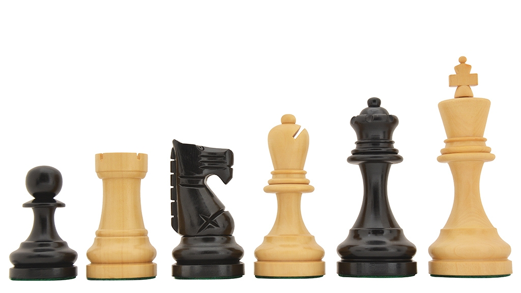 """1973 Petropolis 1979 Interzonal Reproduced Tournament Chess Pieces in Ebonized Boxwood and Natural Boxwood - 4.3"""" - 4.5"""" King"""