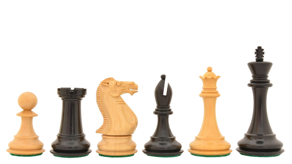 """Slightly Imperfect The Dominator Weighted Staunton Chess Pieces in Ebony / Box Wood - 4-0"""" King"""