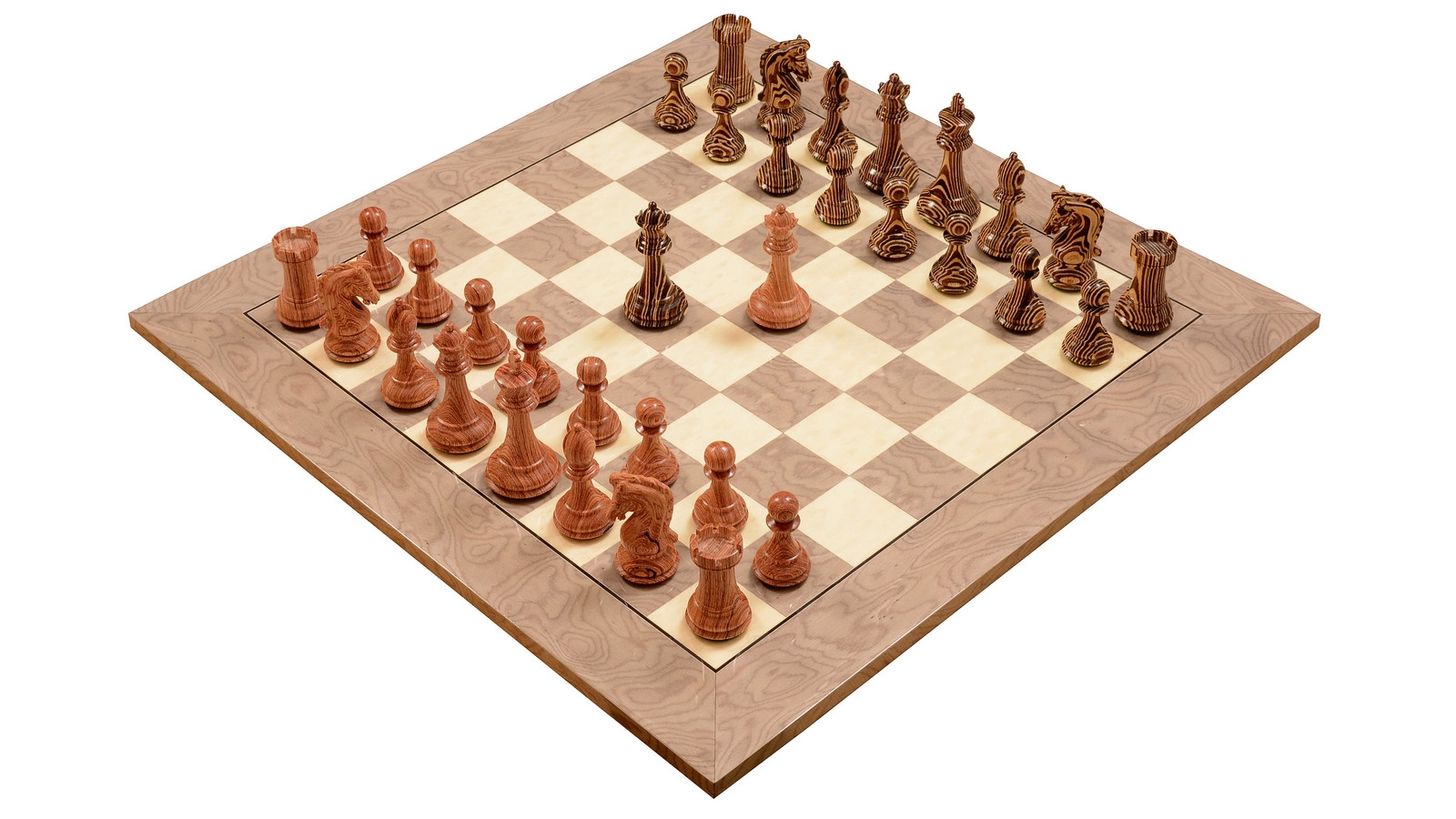 """Combo of Limited Edition Imperial Collector Series (Sinquefield Cup 2014) Wooden Chess Set & Deluxe Grey Ash Burl & White Erable Hi Gloss Finish Chess Board - 3.75"""" King"""