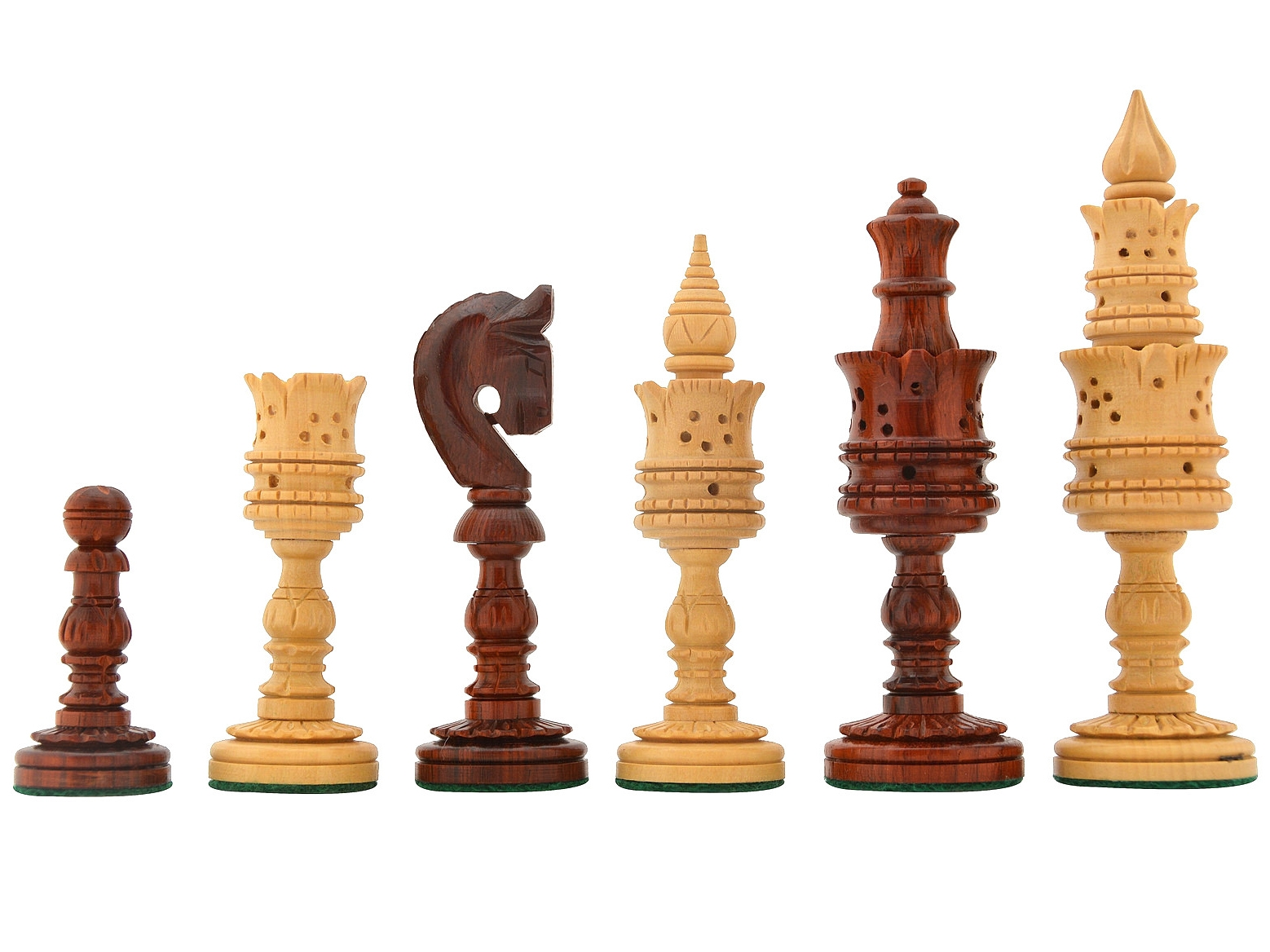 """The Lotus Series Chess Pieces in Bud Rose & Box Wood - 4.7"""" King"""