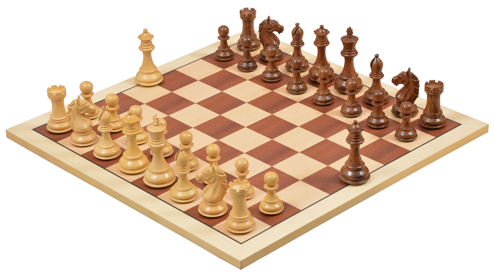 """Combo Of Alban Series Wooden Chess Pieces in Sheesham & Box Wood / Wooden Deluxe Sapele & Sycamore with Matte Finish Chess Board- 4.0"""" King"""