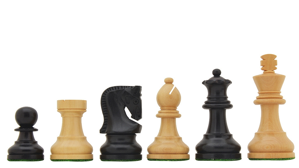 """Traditional Russian Zagreb Chess Pieces in Ebonized Boxwood & Natural Boxwood - 2.5"""" King"""