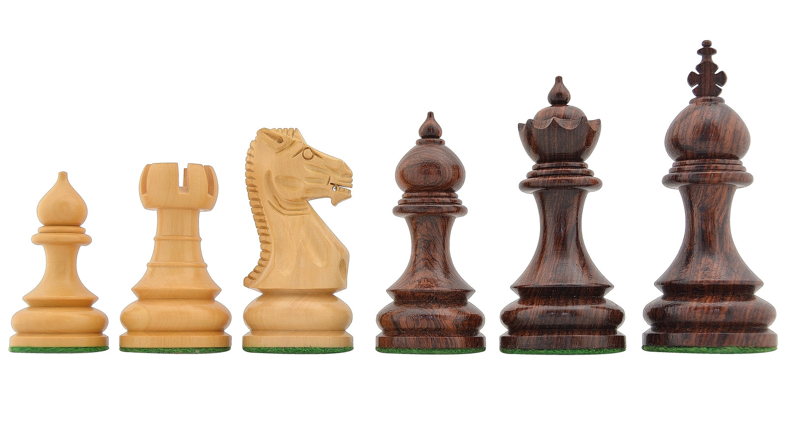 """Slightly Imperfect Staunton Series Weighted Taj Carved Chess Pieces in Rose & Box Wood - 3.78"""" King"""