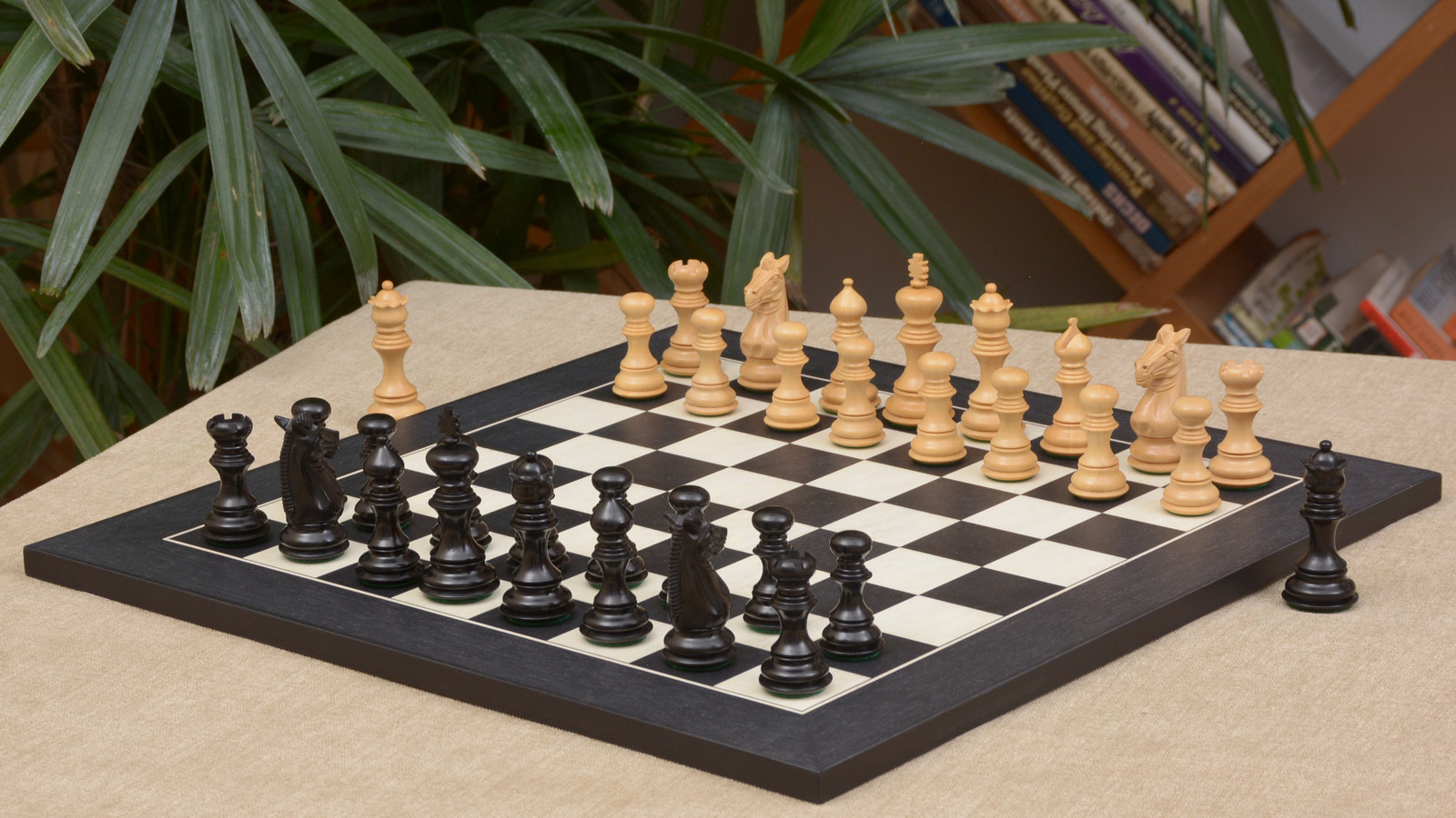 """Combo of Meghdoot Staunton Series Chess Pieces & Black Anigre Maple Chessboard - 3.2"""" King"""