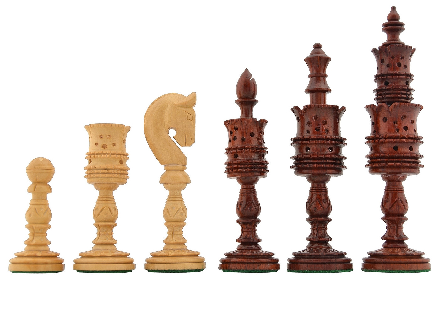 """Slightly Imperfect Lotus Series Blood Red Pipe Shaped Chess Pieces in Bud Rose & Box Wood - 5.75"""" King"""
