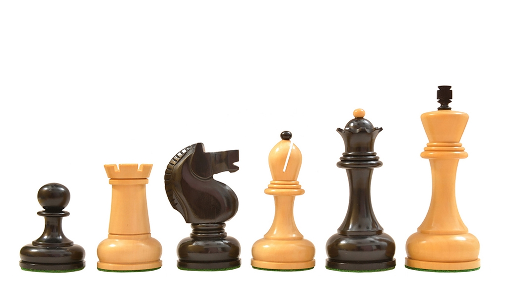 """Reproduced 1961 Soviet Championship Series Chess Pieces in Ebony Wood & Box Wood - 4.2"""" King"""