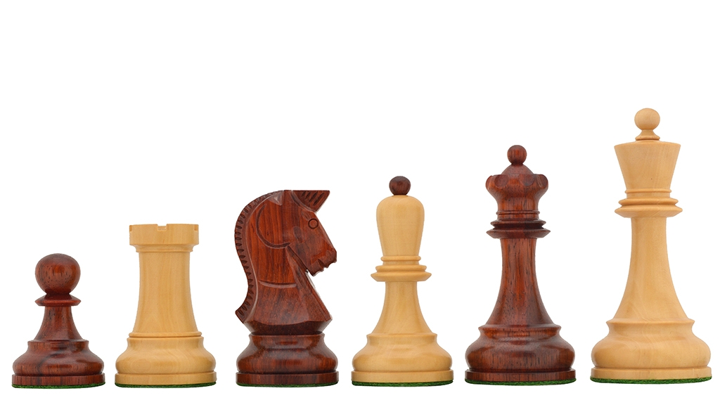 """The Reproduction 1950 Dubrovnik Bobby Fischer Chess Pieces Version 2.0 in Bud Rose / Box Wood - 4.0"""" King"""