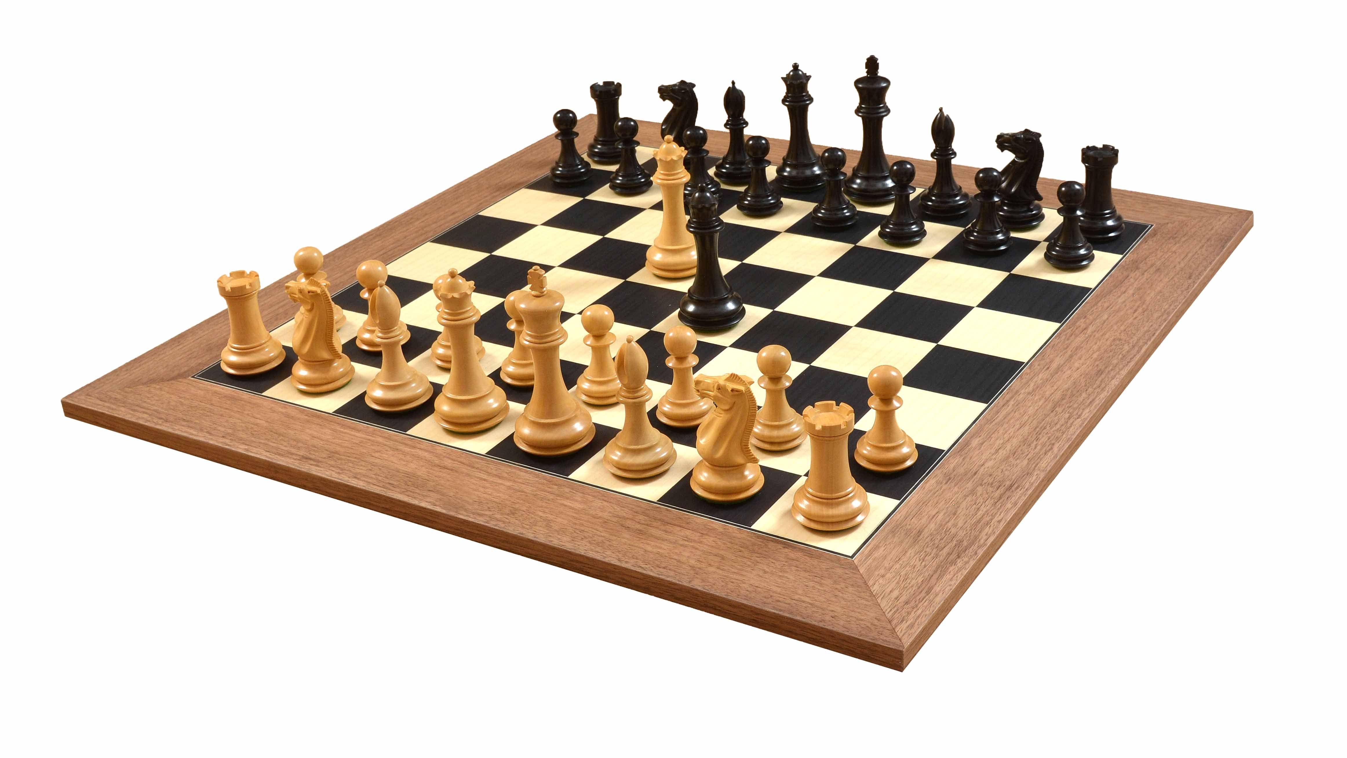 """Combo of The Old Collector's Club Staunton Series Chess Pieces in Ebony / Box wood- 4.4"""" King & Deluxe Black Dyed Poplar & Sycamore Matte Finish board- 60 mm"""