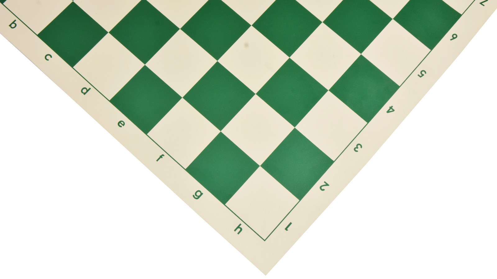 """Basic Tournament Vinyl Roll-up Chess Board with Algebraic Notation in Green & White Color 20"""" - 55 mm"""