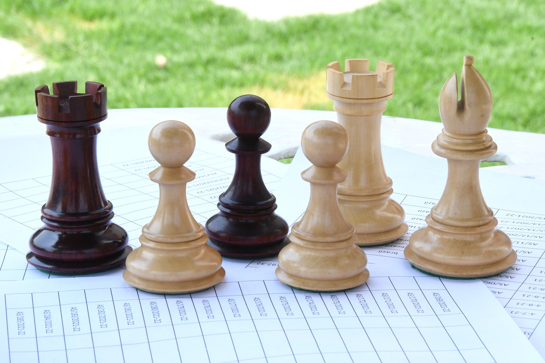 """Combo of Paperweight Rook, Bishop & Pawn Chess Pieces in Box Wood & Bud Rosewood - 4.52"""" Bishop"""