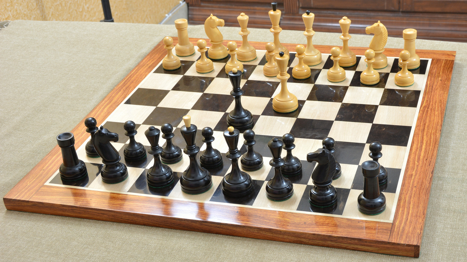 """Combo of 1940-50 Reproduced (Soviet Era) Russian Series Chess Set Revised with Board in Ebony & Box Wood - 4.4"""" King"""